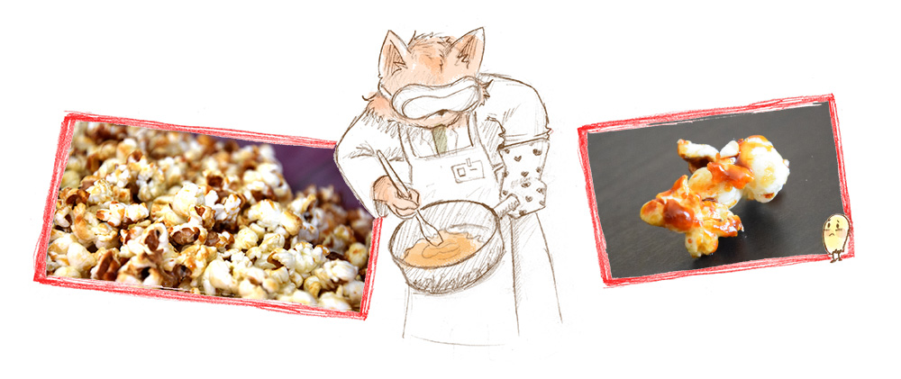 Chat scientifique qui fait des pop-corn. illustration par yakabee