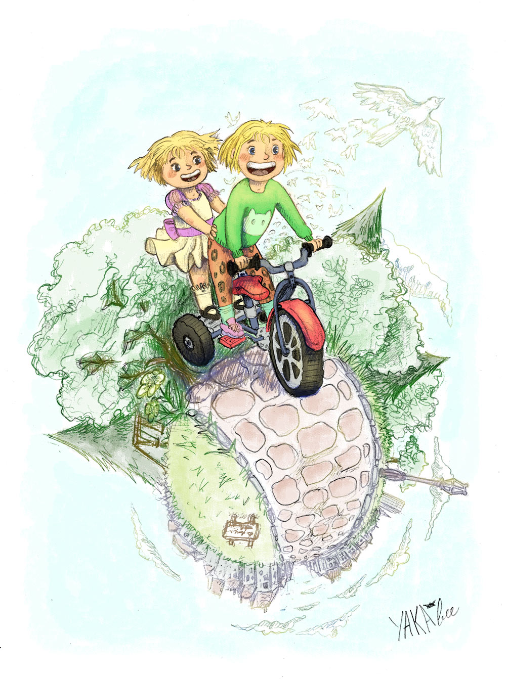 Deux amies d'enfances qui font du tricycle. Par Yakabee